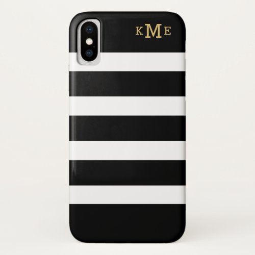Gold Monogram Initials Black and White Stripes Phone Case