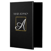 Gold Monogram iPad Cover for High School   College
