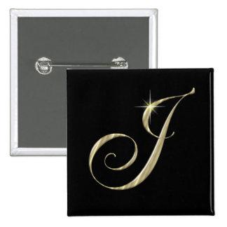 Gold Monogram J Initial Button