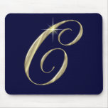 Gold Monogram Letter C Initials Mouse Pad