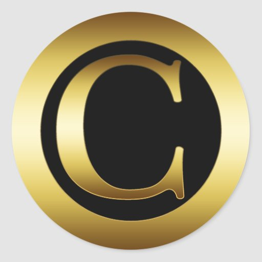 Gold monogram letter c classic round sticker zazzle for Letter c stickers