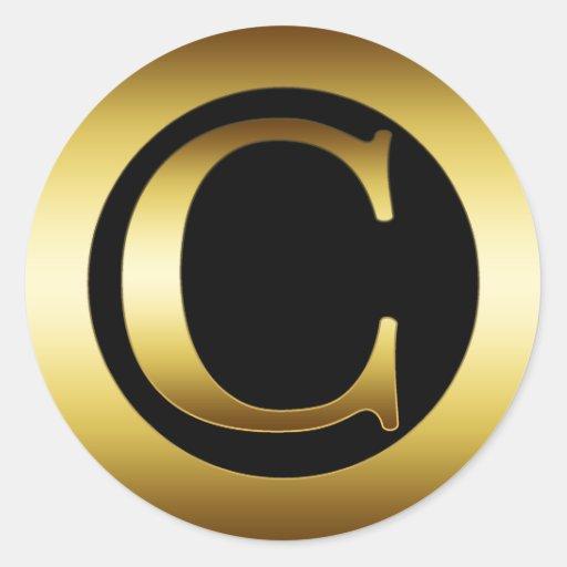 Gold monogram letter c classic round sticker zazzle for Letter c stickers