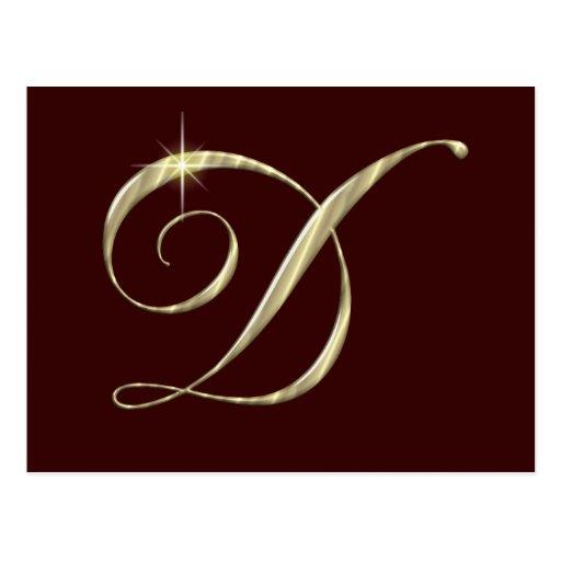 Gold Monogram Letter D Initials Post Card