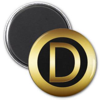 GOLD MONOGRAM LETTER D REFRIGERATOR MAGNETS