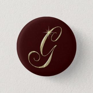 Gold Monogram Letter G Initials Pinback Button