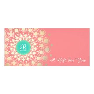 Gold Monogram Mandala Pink Coral Gift Certificate Personalized Rack Card