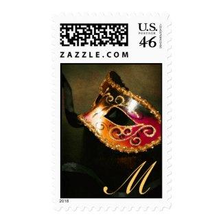 Gold Monogram Masqurade Mask Postage Stamp stamp