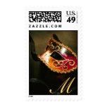 Gold Monogram Masqurade Mask Postage Stamp