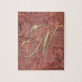 Gold monogram Ni initials merchandise Puzzle