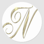 Gold monogram Ni initials merchandise Round Sticker