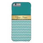 Gold Monogram On Blue Green Teal & White Chevron Barely There iPhone 6 Case