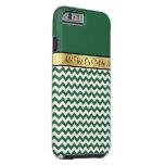 Gold Monogram On Chic Billiard Green White Chevron Tough iPhone 6 Case