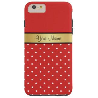 Gold Monogram On Chic Tomato Red, White Polka Dots Tough iPhone 6 Plus Case