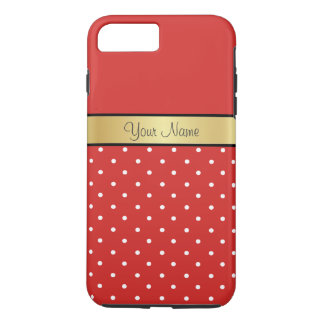 Gold Monogram On Chic Tomato Red, White Polka Dots iPhone 7 Plus Case