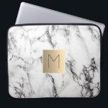 "gold monogram on marble laptop sleeve<br><div class=""desc"">monogram on marble</div>"
