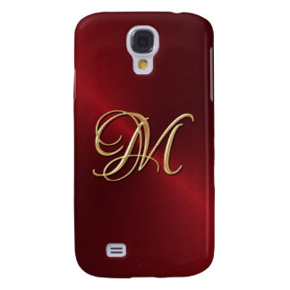 Gold Monogram on Red Sheen Samsung Galaxy S4 Cover