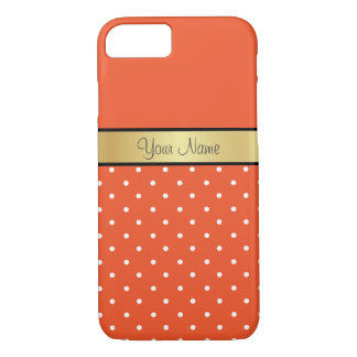 Gold Monogram On Tangerine Tango, White Polka Dots iPhone 7 Case