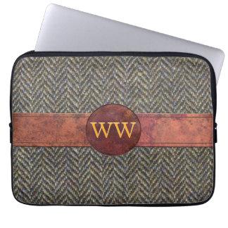 Gold Monogram on Vintage Tweed and Leather Laptop Computer Sleeves