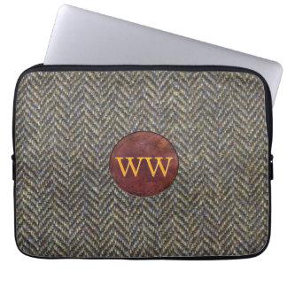 Gold Monogram on Vintage Tweed and Leather Laptop Sleeve