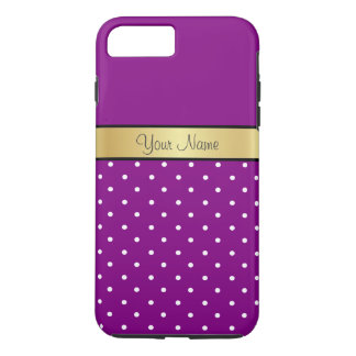 Gold Monogram On Violet Purple & White Polka Dots iPhone 7 Plus Case