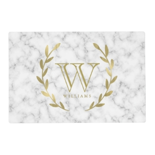 Gold Monogram On White Marble Texture Placemat at Zazzle