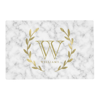 Gold Monogram on White Marble Texture Placemat
