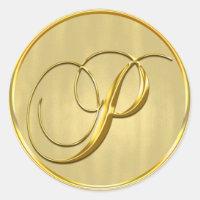 Gold Monogram P Seal Wedding Invitation Holiday