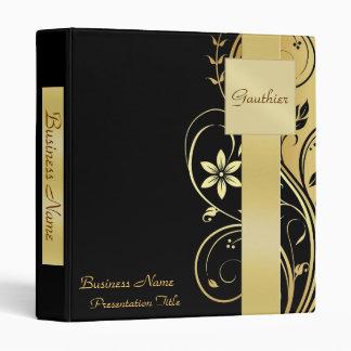 Gold Monogram Pattern Business Presentation Binder