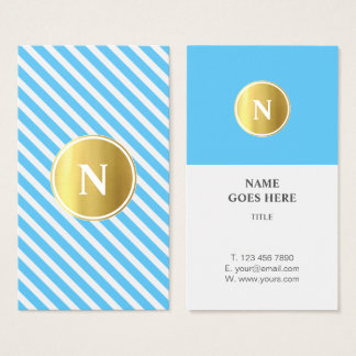 Gold Monogram Pattern Vertical Business Card