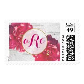 Gold Monogram Pink Fucshia Peony Stamp