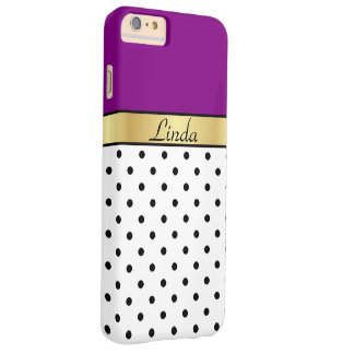 Gold Monogram Purple Violet White Black Polka Dots Barely There iPhone 6 Plus Case