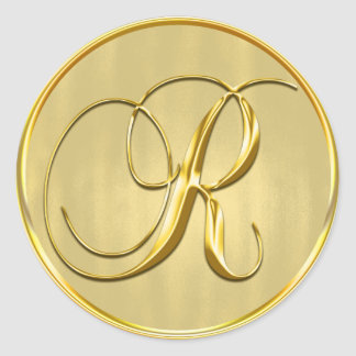 Gold Monogram R Seal Wedding Invitation Holiday Classic Round Sticker