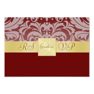Gold Monogram Red Half Damask RSVP Invitation