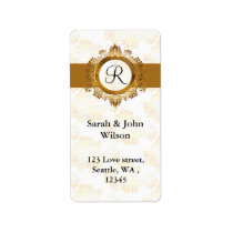 gold monogram return address label