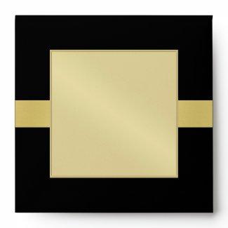 Gold Monogram Ribbon Black Wedding Envelope envelope
