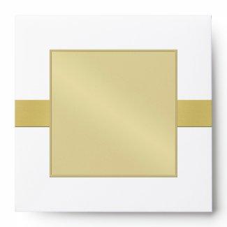 Gold Monogram Ribbon Speckled Wedding Envelope envelope