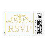 Gold monogram RSVP stamps Wedding postage stamp