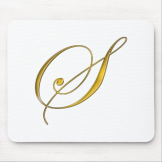 Gold Monogram S Mouse Pad