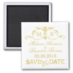 Gold Monogram Save The Date Magnets at Zazzle