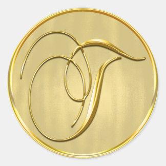 Gold Monogram T Seal Classic Round Sticker