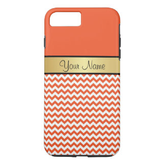 Gold Monogram Tangerine Tango Orange White Chevron iPhone 7 Plus Case