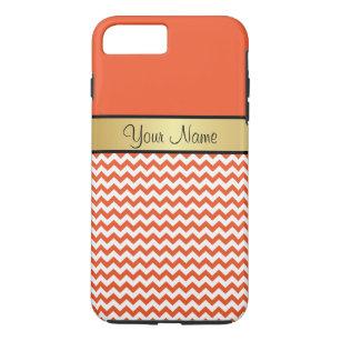 Gold Monogram Tangerine Tango Orange White Chevron iPhone 8 Plus/7 Plus Case