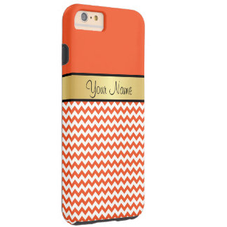 Gold Monogram Tangerine Tango Orange White Chevron Tough iPhone 6 Plus Case