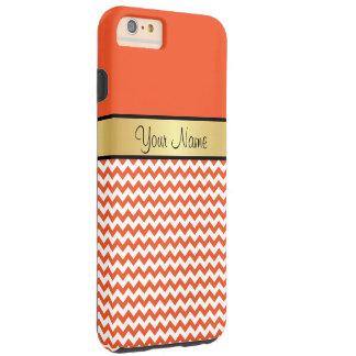 Gold Monogram Tangerine Tango Orange White Chevron Tough iPhone 6 Plus Case