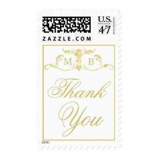 Gold monogram Thank You postage stamps Wedding set