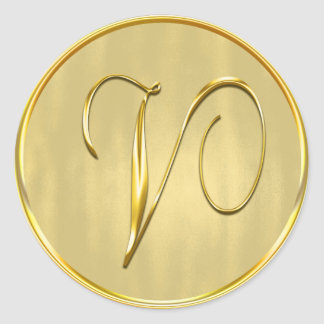 Gold Monogram V Seal Classic Round Sticker