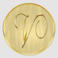 Gold Monogram V Seal Wedding Invitation Holiday