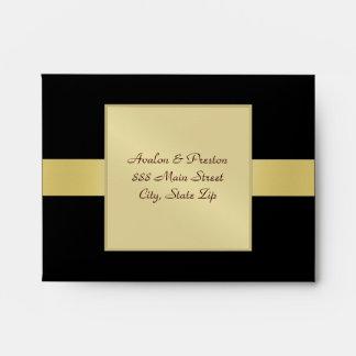 Gold Monogram Venetian Black RSVP Envelope