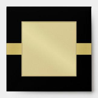 Gold Monogram Venetian Black Wedding Envelope