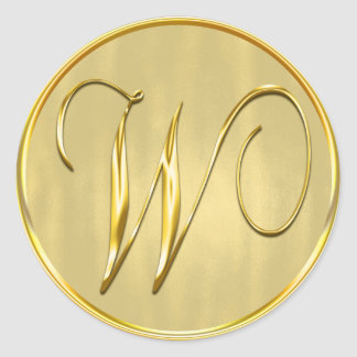 Gold Monogram W Seal Classic Round Sticker